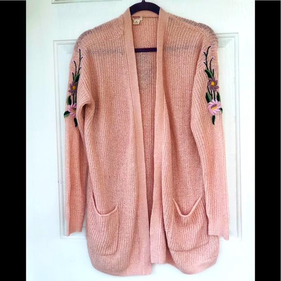 MOSSIMO supply co. Pink embroidery cardigan